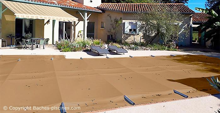 BACHE à barres piscine enterrée. Couverture de sécurité.