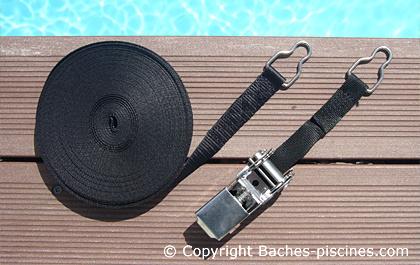 Sangle de soutien pour couverture d 39 hivernage piscine - Crochet pour bache piscine ...