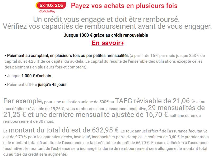 cONDITIONS DE PAIEMENT COFIDIS PAY