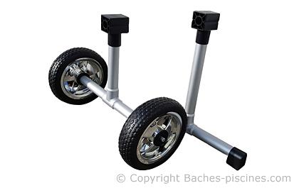 Pieds enrouleur piscine avec roues souples increvables
