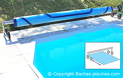 Enrouleur couverture piscine 7m large for Enrouleur bache piscine semi enterree