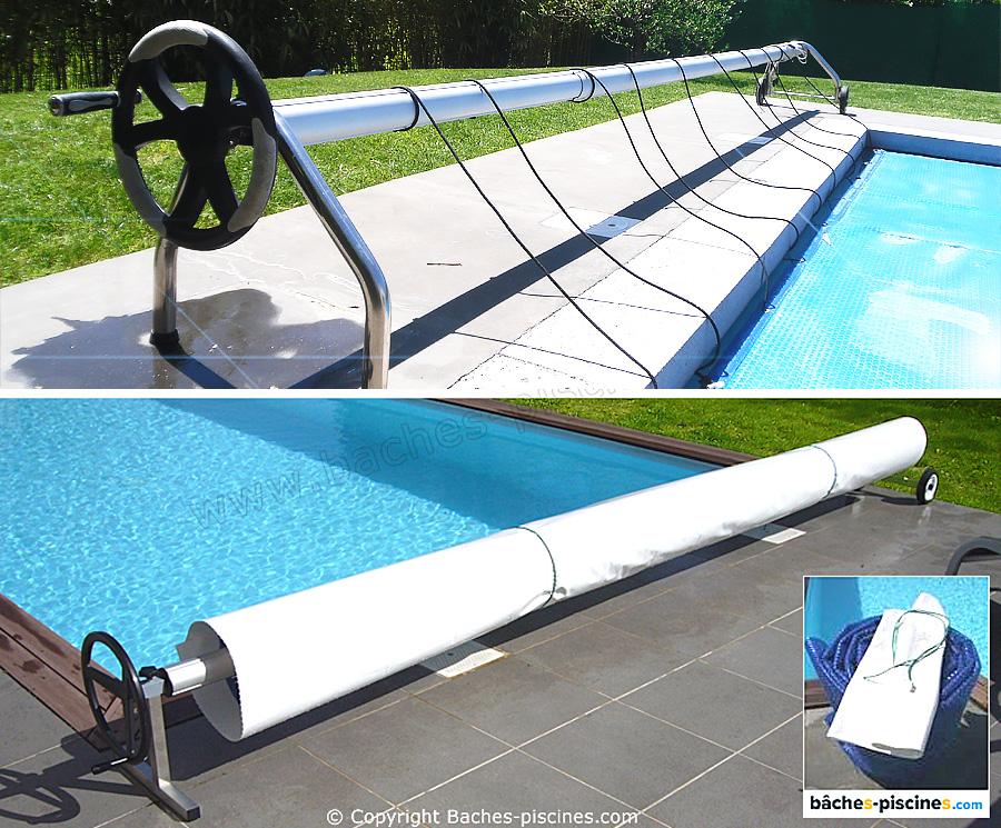 Fixations couverture piscine à bulles et enrouleur