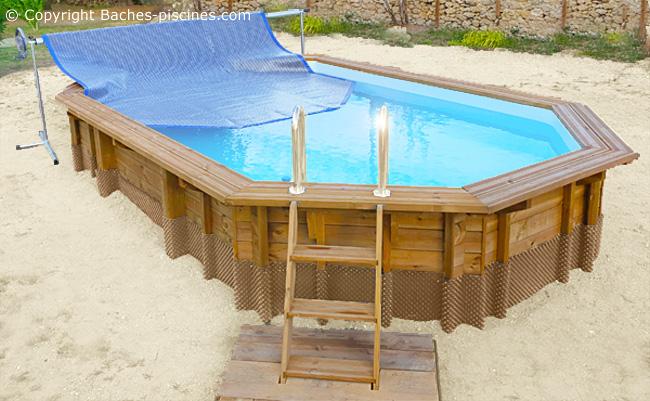 Enrouleur piscine hors sol avec pieds reglables