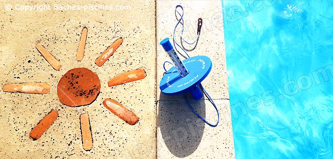 Grand thermomètre amovible pour se glisser sous les couvertures de piscine.
