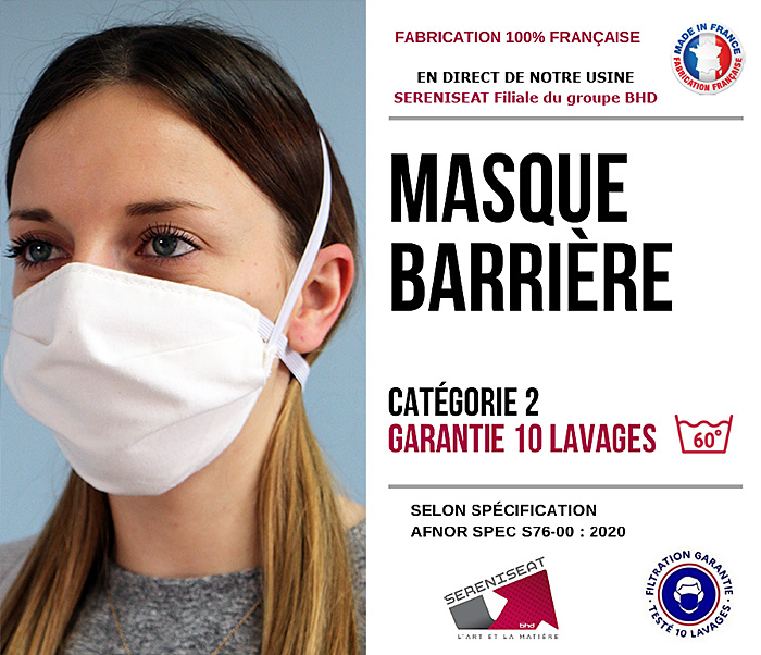 Masque lavable fabrication française - covid19 -